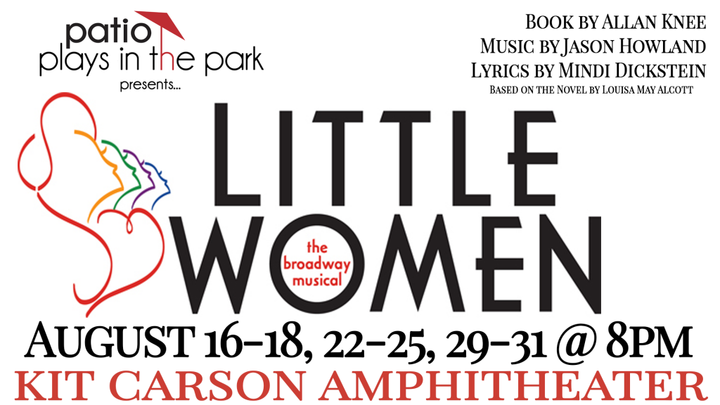 logo graphic for Little Women. Includes author credits and performance dates