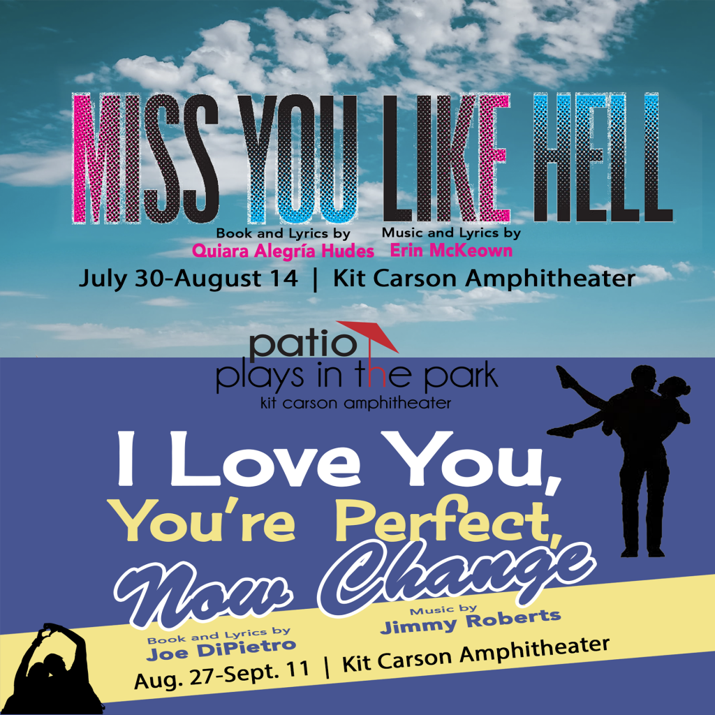 Miss You Like Hell banner with a cloud background on top and below it the I Love You, You're Perfect, Now Change banner on a blue background with a yellow stripe and silhouettes of couples