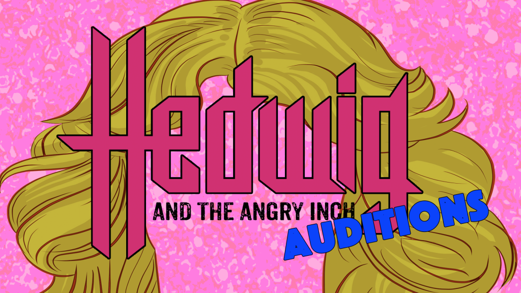 Hedwig and the Angry Inch Auditions banner pink speckled background with a stylized blond wig